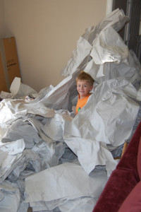A sea of packing paper is fun if you're a kid