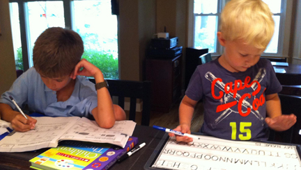 When big brother does homework it's helpful if little brother has something quiet to do.