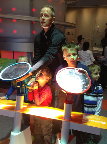 Trying to shine the light on the target to make the planes fly - solar energy!
