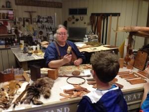Ozark Folk Center, learning about leather crafts