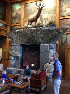 The amazing fireplace at the main entrance.